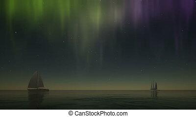 Northern lights sailboat on stars background