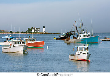 Northern Maine - Fishing boats in Inner Harbor with...