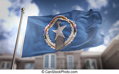 Northern Mariana Islands Flag 3D Rendering on Blue Sky Building Background