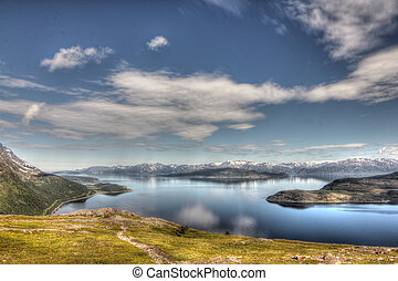 Northern Norway landscape - Scenic panorama of fjord on in...