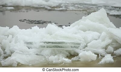 northern river ice drift - Ice floe from drift ice driven...