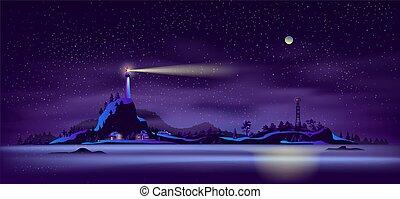 Northern seashore night landscape cartoon vector - Northern...