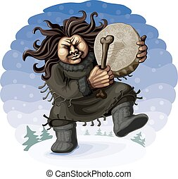 Northern shaman perform the ritual dance with tambourine....