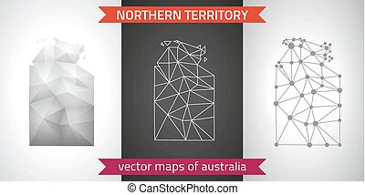 Northern Territory collection of vector design modern maps, gray and black and silver dot contour mosaic 3d map