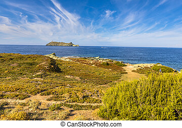 Northern tip of Cap Corse with view on Giraglia island, ...