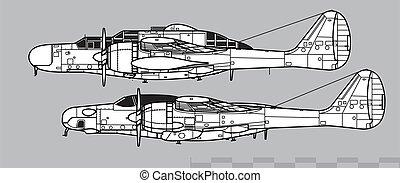 Northrop P-61 Black Widow & F-15 Reporter. Outline vector drawing