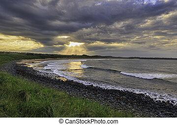Northumberland coast, - Sunset on the northumberland coast,...