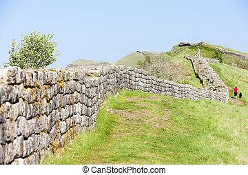 northumberland, inglaterra, pared, hadrian's