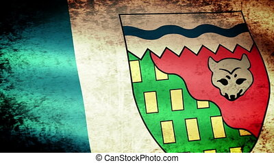 Northwest Territories Flag Waving, grunge look