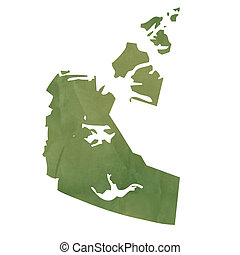 Northwest Territories map on green paper