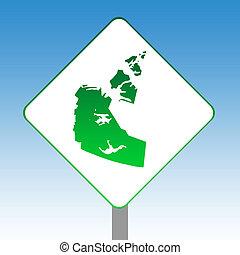 Northwest Territories map road sign