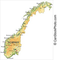 noruega, mapa en relieve
