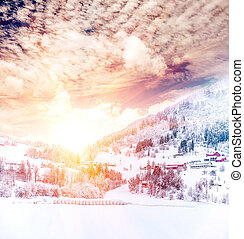 noruega, paisagem inverno, vila