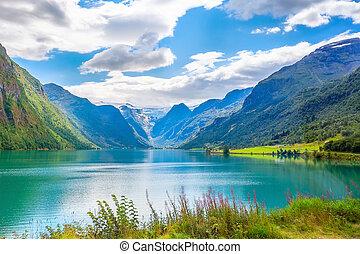 noruega, paisaje, glaciar, fiordo