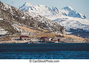 noruega, paisaje, invierno