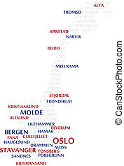 noruega, palabra, nube, mapa