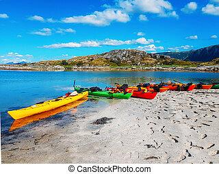 noruega, verano, cielo, nublado, mar, barcos, playa, colorido, foto