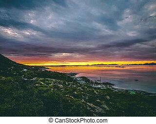 noruega, verano, nublado, ocaso, mar, colina, cielo, foto