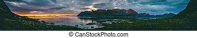 noruega, verano, nublado, ocaso, mar, panorámico, colina, cielo, foto