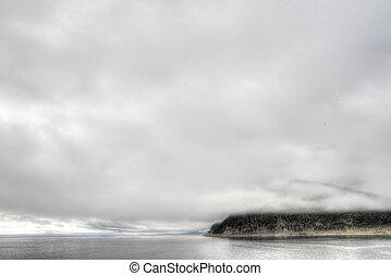 noruego, fiordo, y, montañas