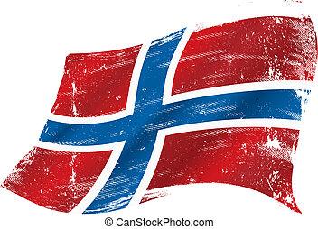noruego, grunge, bandera