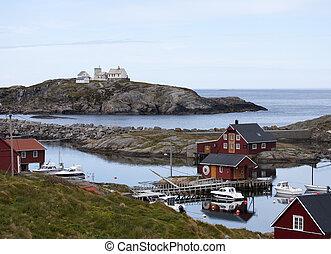 noruego, pesca, casas