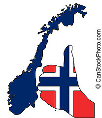 noruego, señal de la mano