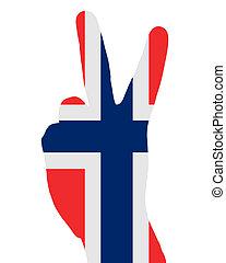 noruego, señal, dedo
