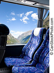 noruego, viaje, fiordo, autobús