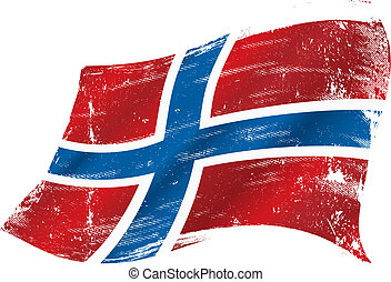 norueguês, bandeira,  grunge