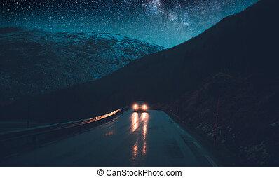 norvège, aventures, nuit, voyage, route