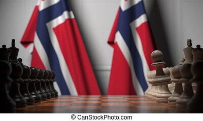 norvège, chessboard., apparenté, drapeaux, politique, 3d, échecs, ou, jeu, animation, gages, derrière, rivalité