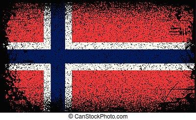 norvège, grunge, drapeau