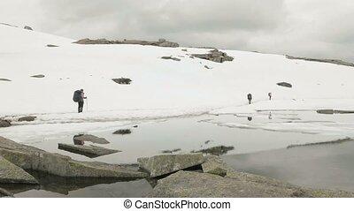 norvège, montagnes., randonnée, neigeux