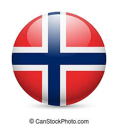 norvège, rond, lustré, icône