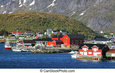 norvège, village, reine, à, rouges, maison