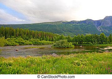 norvégia, landscapes., oslo, vízesés, skandináv, között, bergen., folyó