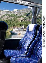 norvégien, tour, fjord, autobus