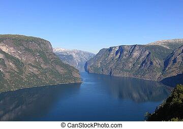 norvégien, tranquille, fjord, scène