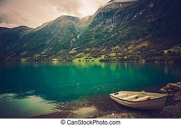 norvegese, fiordo, barca