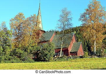 norvegia, chiesa, doga, rosso, mattina