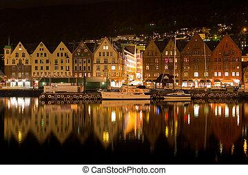 norvegia, notte, panorama, bergen