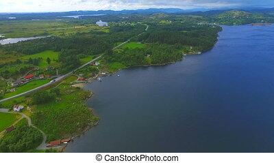 Norway, aerial photos, landscape, sea, mountains