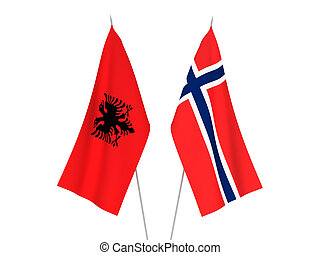 Norway and Albania flags - National fabric flags of Norway ...