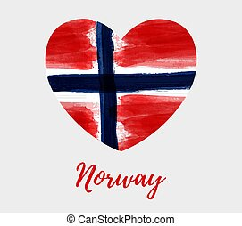 Norway background with heart flag