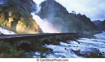 Norway. Beautiful Famous Waterfall Latefoss Or Latefossen...