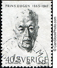NORWAY - CIRCA 1965: A stamp printing in Norway shows Prince Eugen Napoleon Nicolaus of Sweden and Norway, Duke of Närke, circa 1965