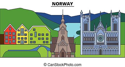 Norway. City skyline, architecture, buildings, streets, silhouette, landscape, panorama, landmarks, icons. Editable strokes. Flat design line vector illustration concept