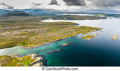 Norway coast aerial drone view from above