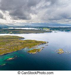 Norway coast drone aerial view